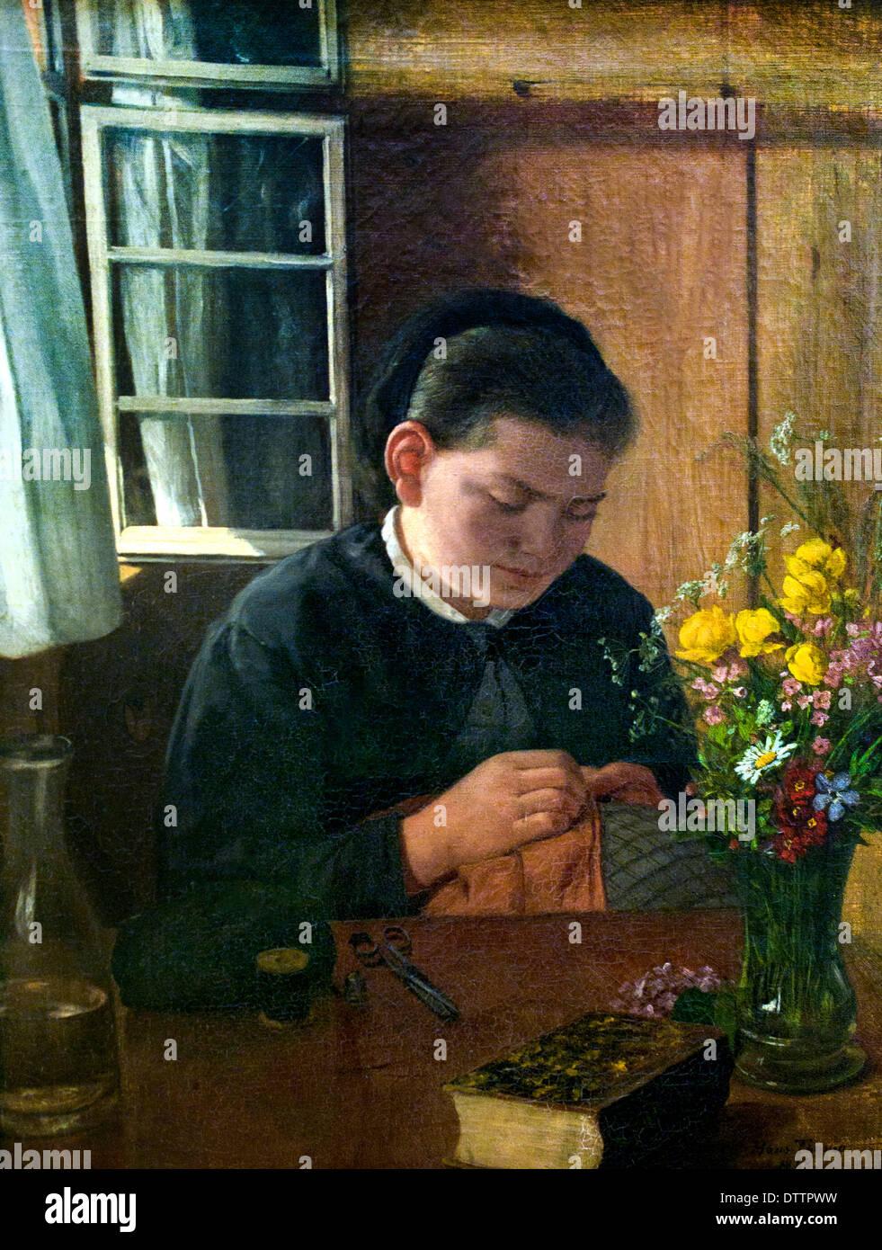 Nähendes Mädchen Agathe Schwester des Künstlers - Sewing girl Agathe sister of the artist 1868   Hans Thoma 1839 - 1924 German - Stock Image