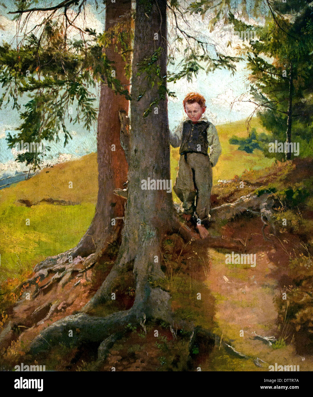 Bauernjunge am Waldrand - Farm boy to the forest in 1862 Hans Thoma 1839 - 1924 German German - Stock Image