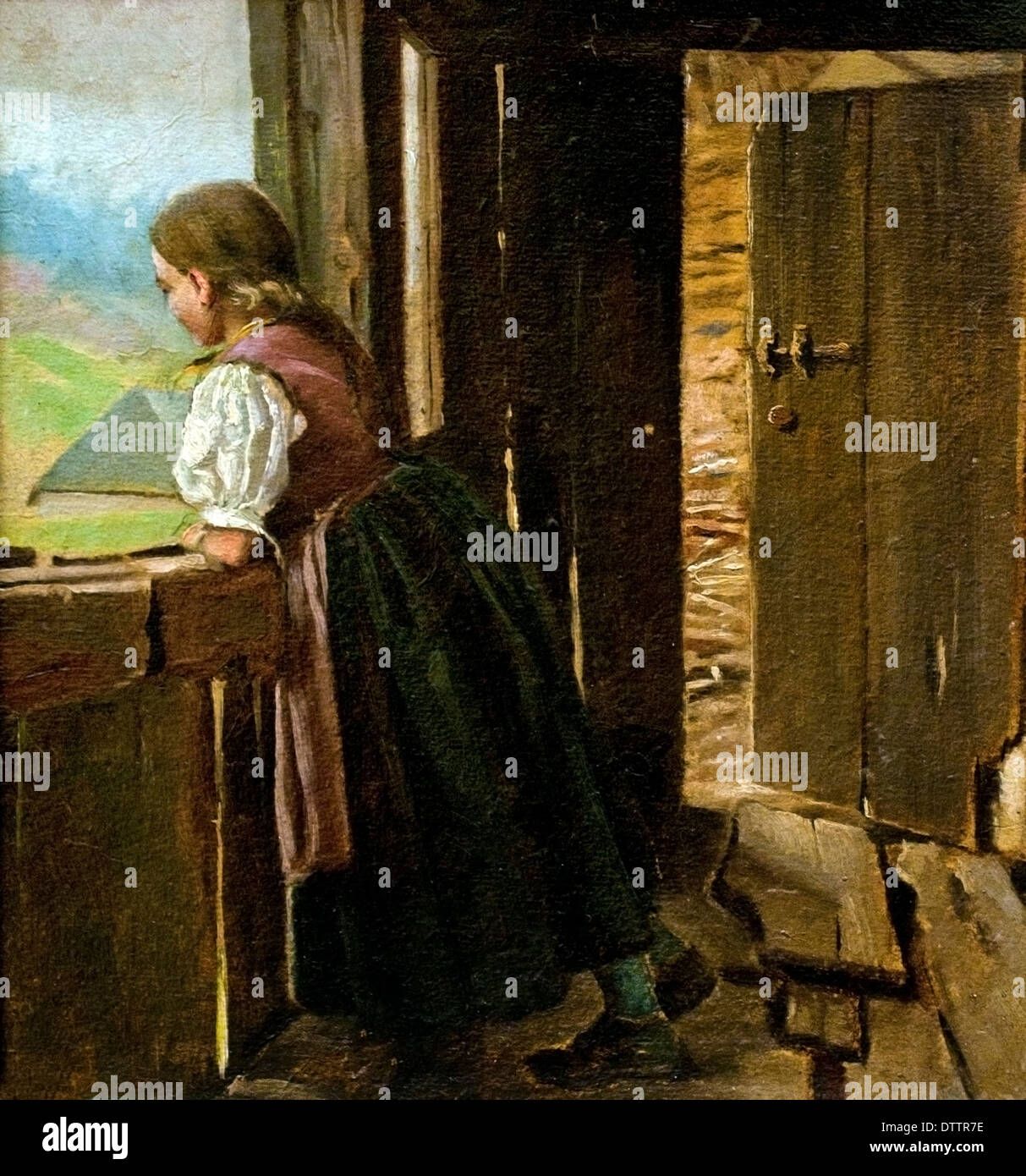 Mädchen auf der Laube eines Bauernhauses - Girl on the porch of a farmhouse 1910 Hans Thoma 1839 - 1924 German German - Stock Image