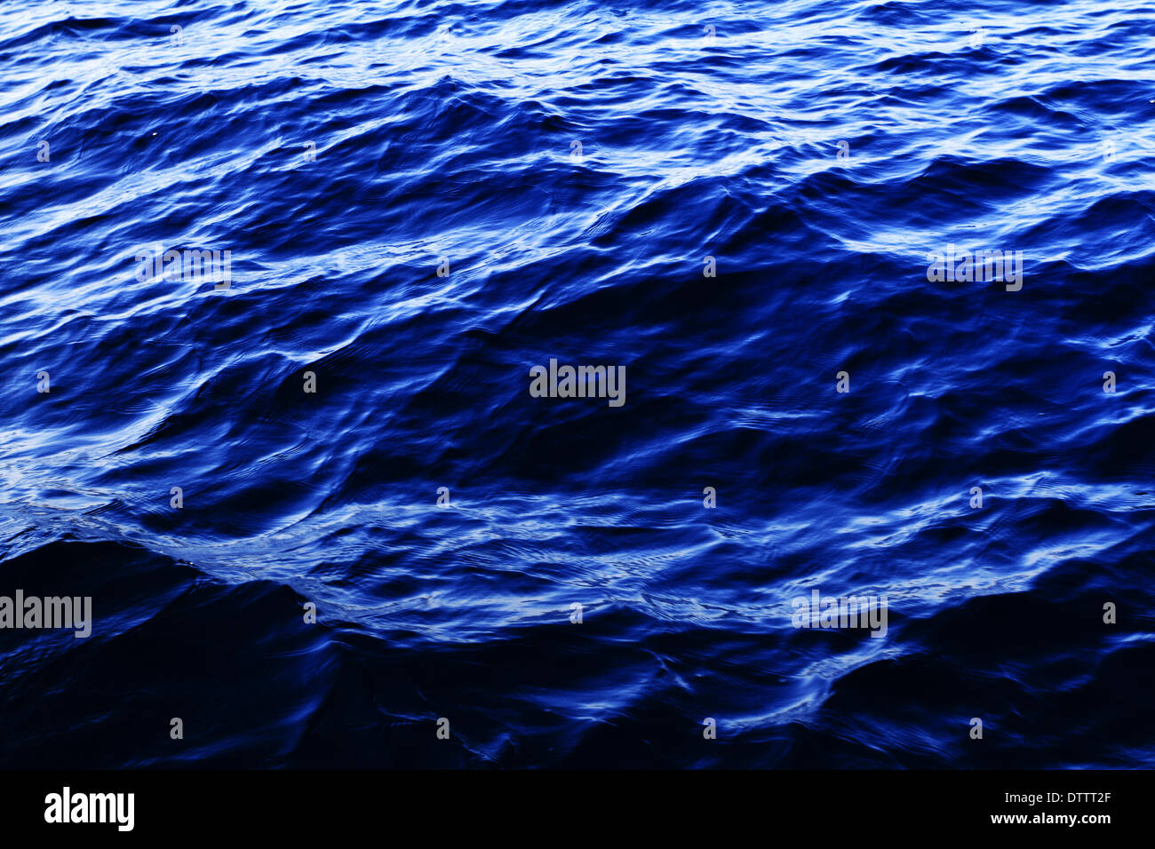 Photo of blue water background with ripples - Stock Image