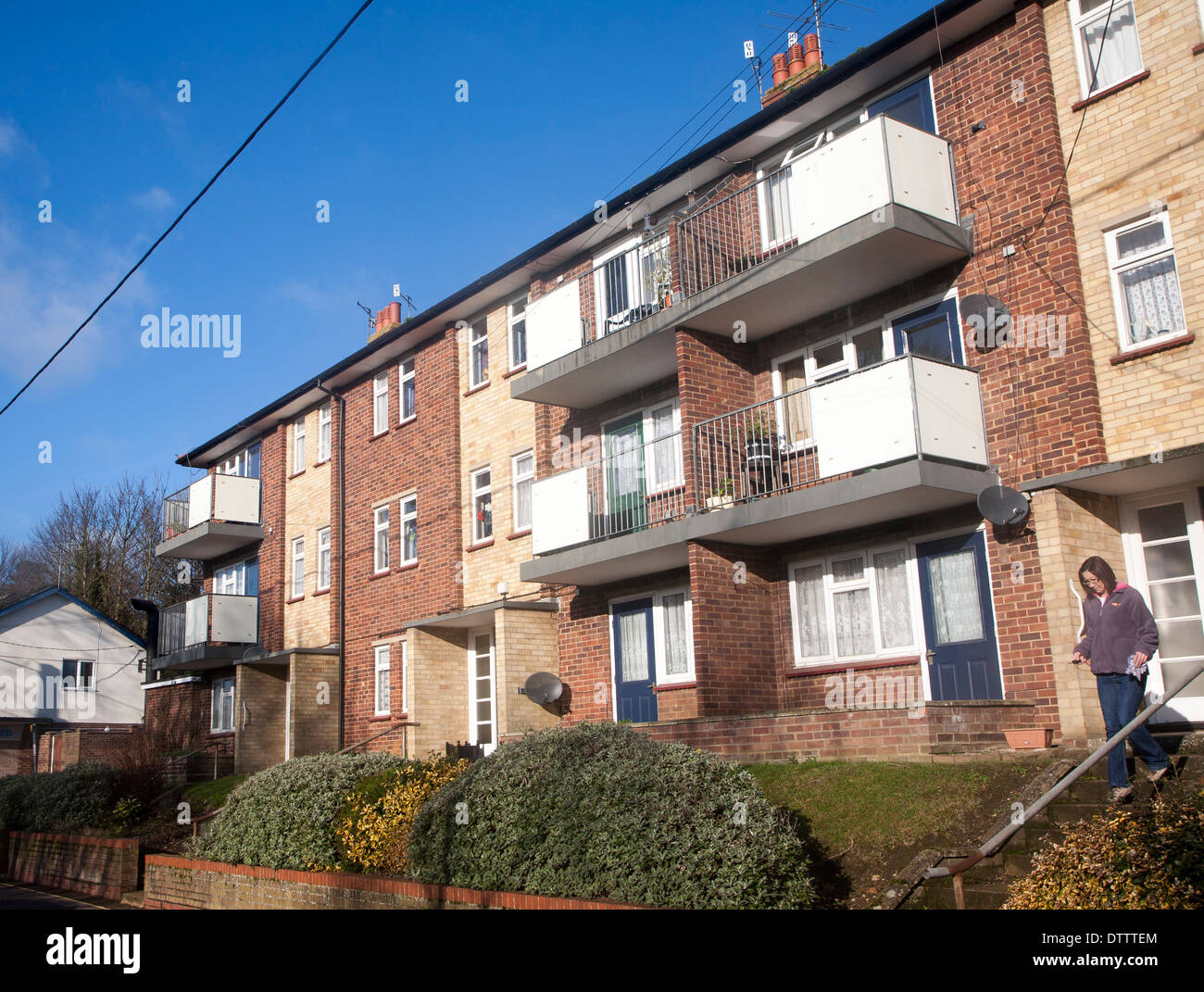 Local authority built former council flats housing in Woodbridge, Suffolk, England - Stock Image