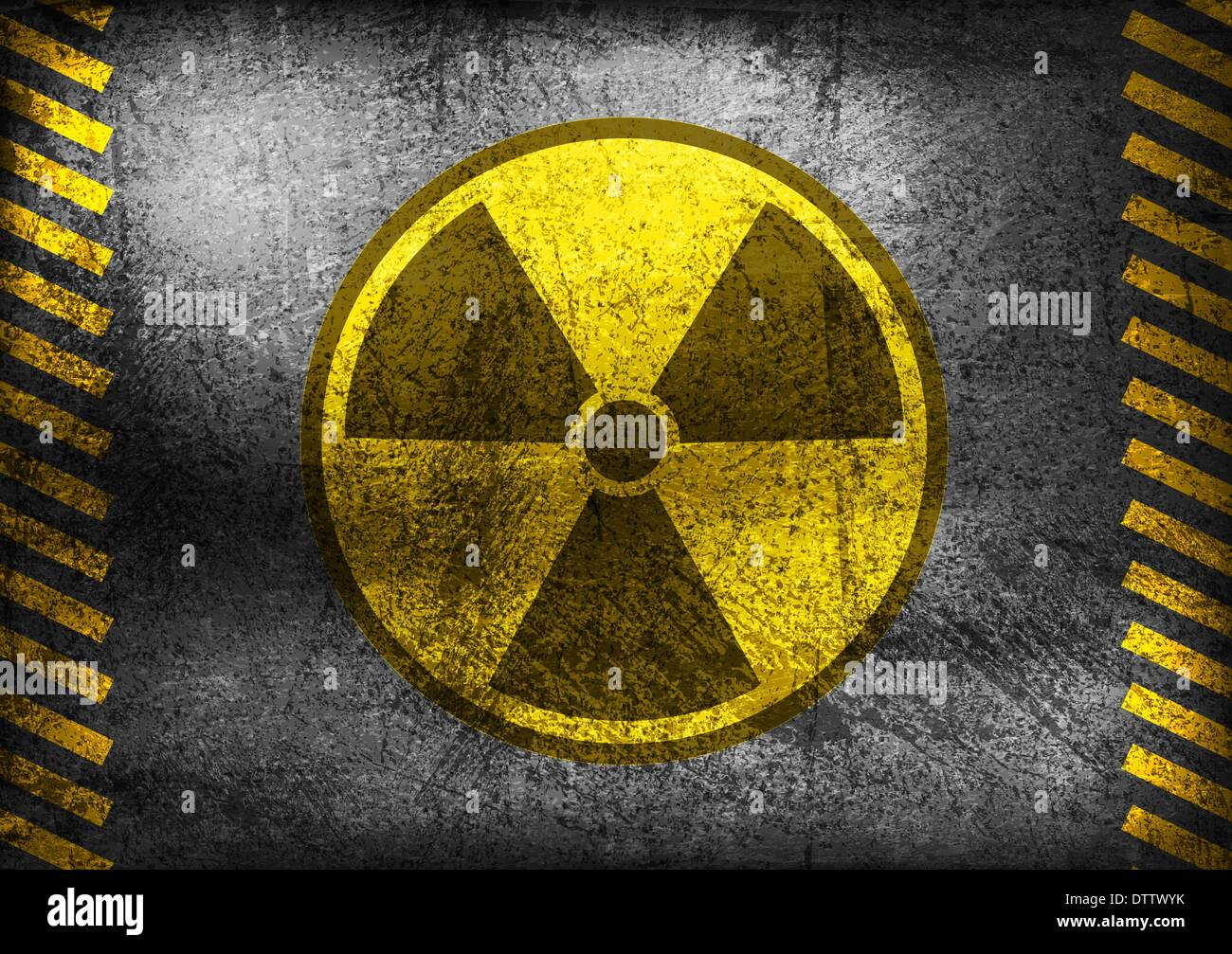 Nuclear radiation symbol on grunge wall - Stock Image