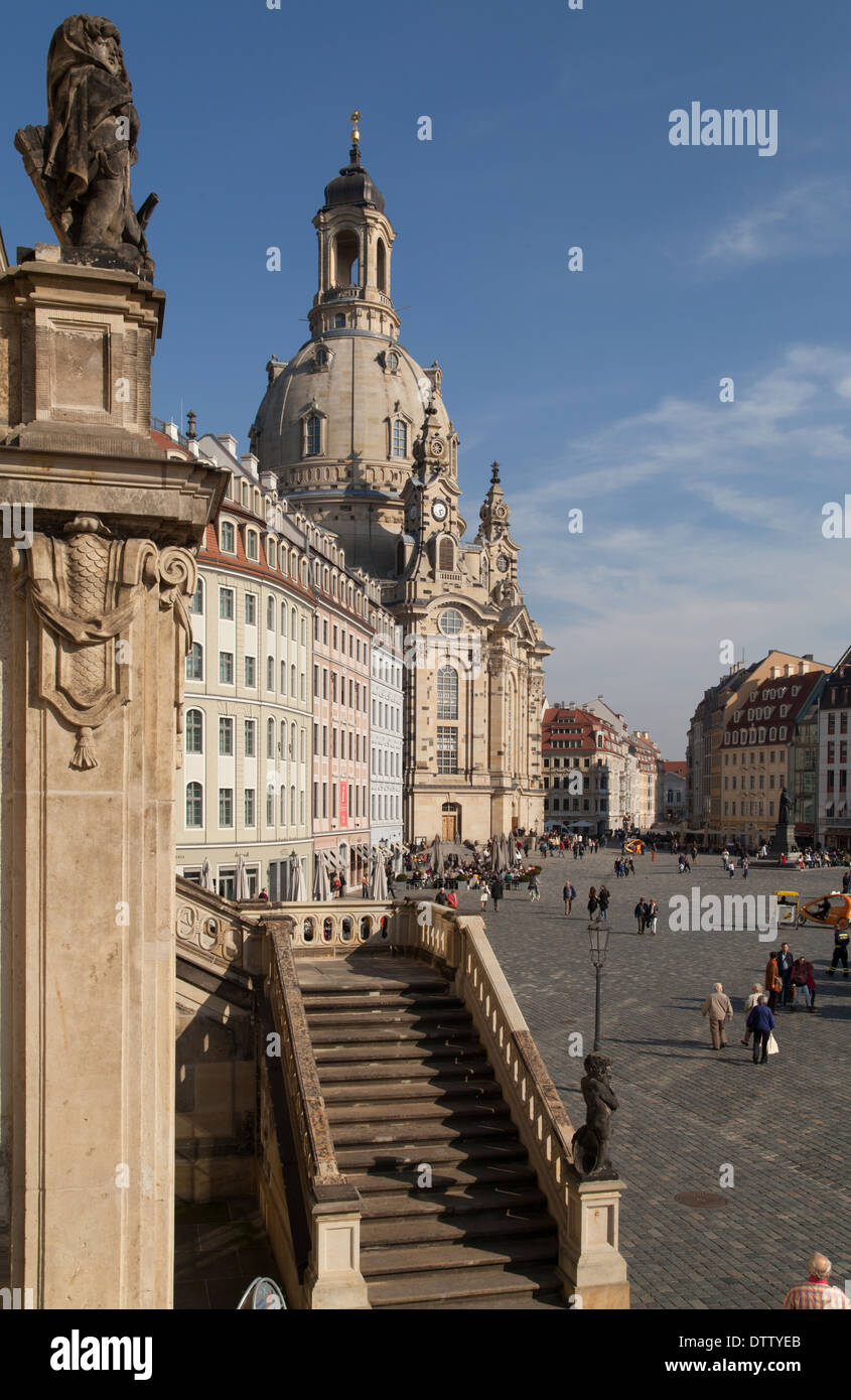 The Neumarkt New Market Square in Dresden seen from the Judenhof with the Church of Our Lady Dresden Frauenkirche Stock Photo