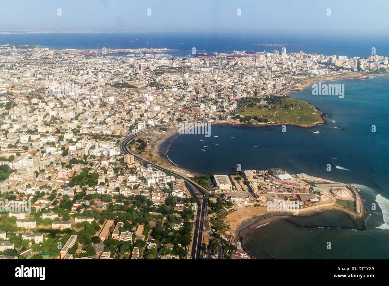 Aerial view of the city of Dakar, Senegal, by the coast of the Atlantic city - Stock Image