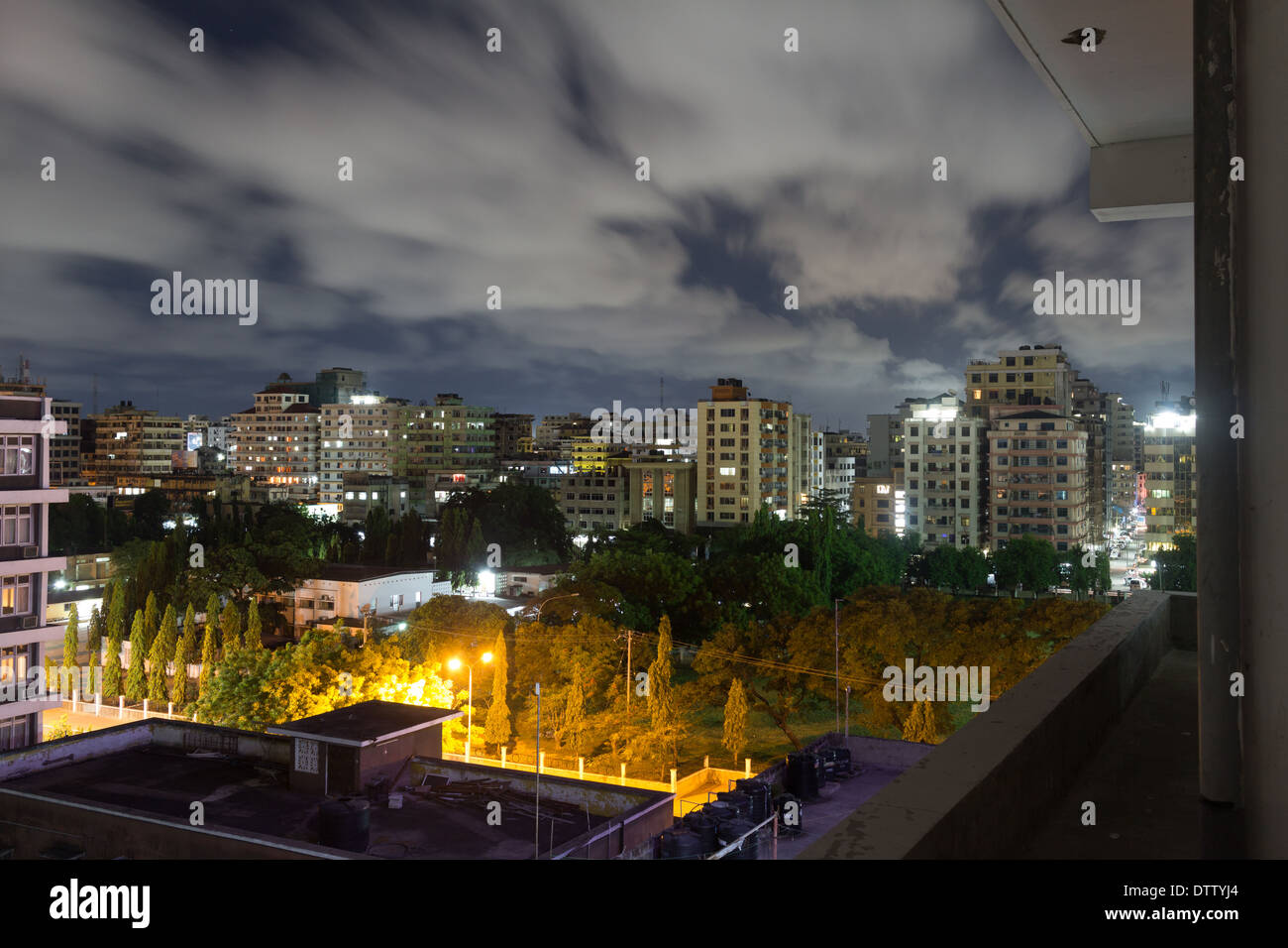 Night view of the downtown area of the city of Dar Es Salaam, Tanzania, at night - Stock Image
