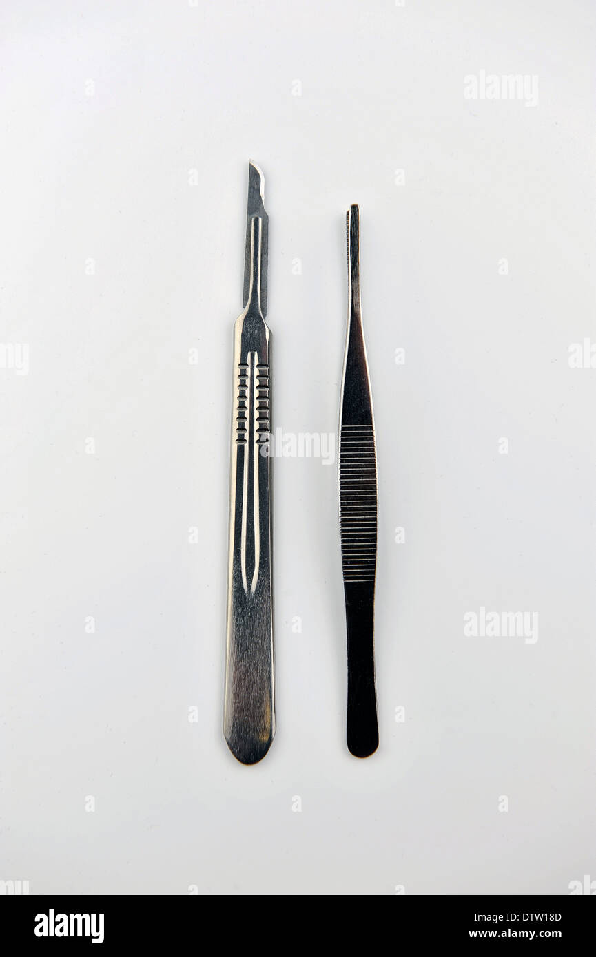 Surgical blades and forceps - Stock Image