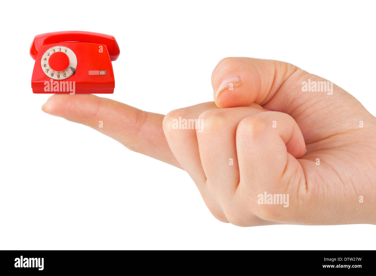 Hand and small telephone - Stock Image