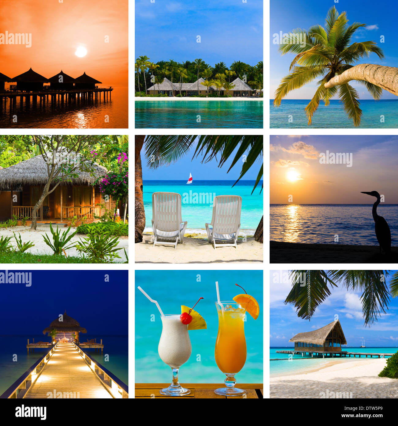 Collage of summer beach maldives images - Stock Image