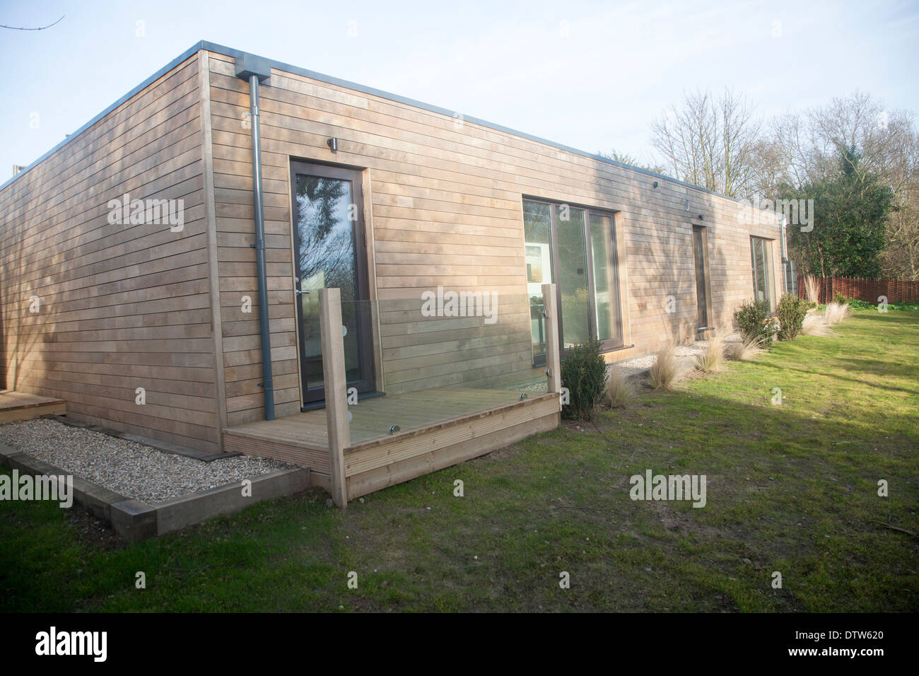 Oak panelling walls of modern newly built sustainable house at Snape, Suffolk, England - Stock Image