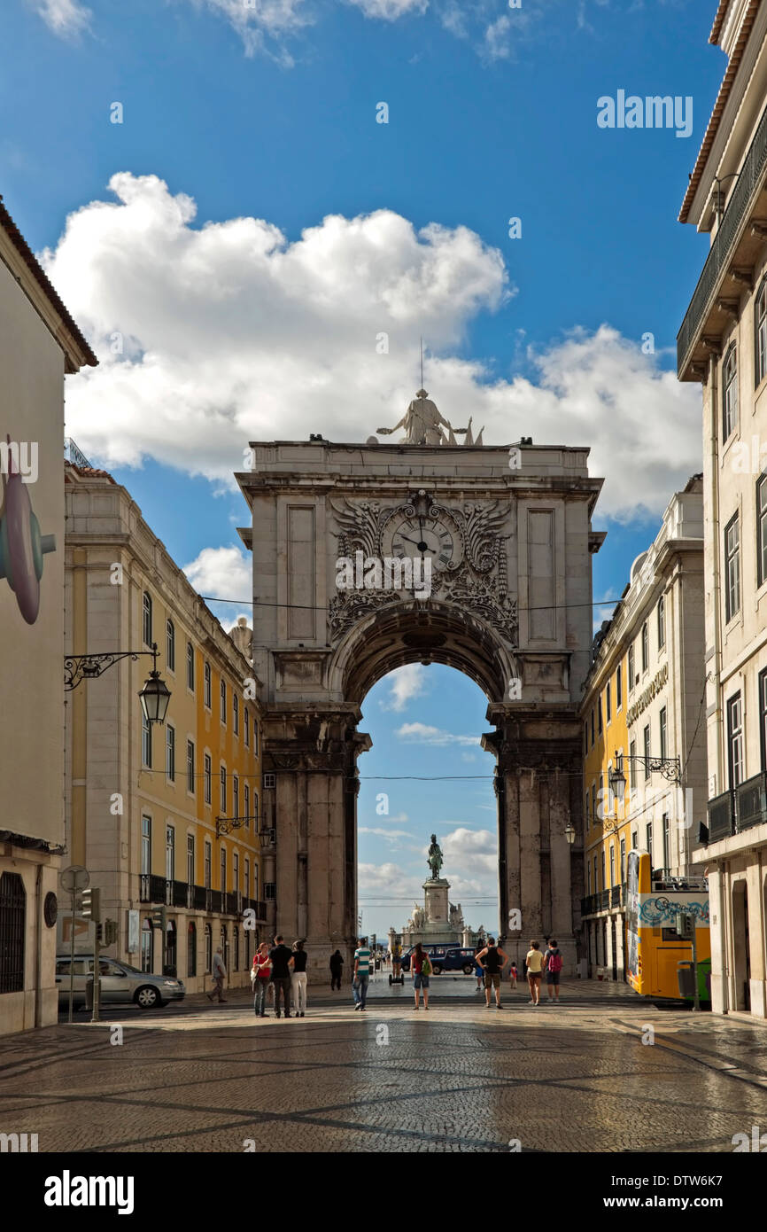 The Rua Augusta Arch is a stone, triumphal arch-like, historical building and visitor attraction in Lisbon, Baixa, Portugal - Stock Image