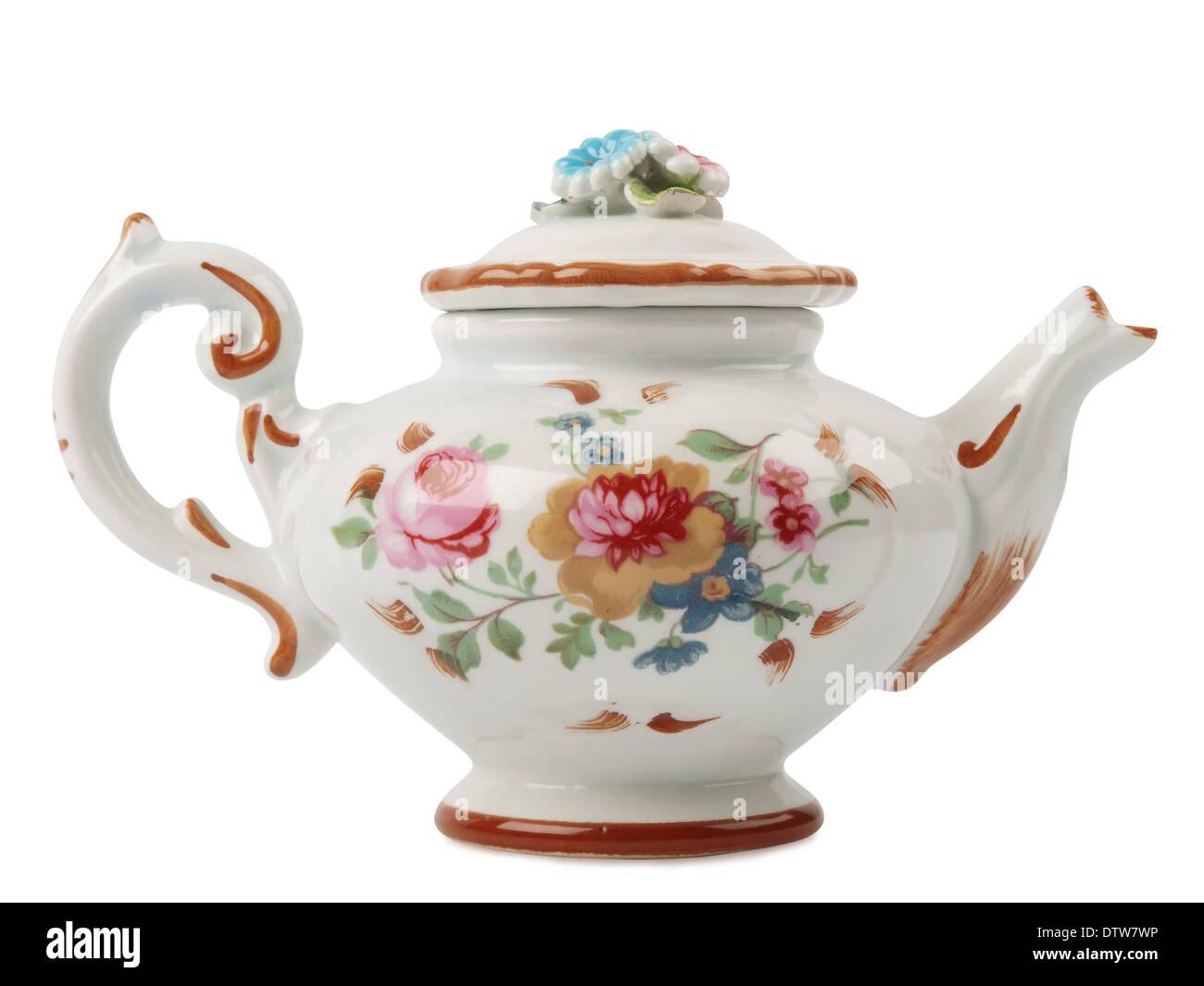 ceramic tea pot isolated on white background - Stock Image