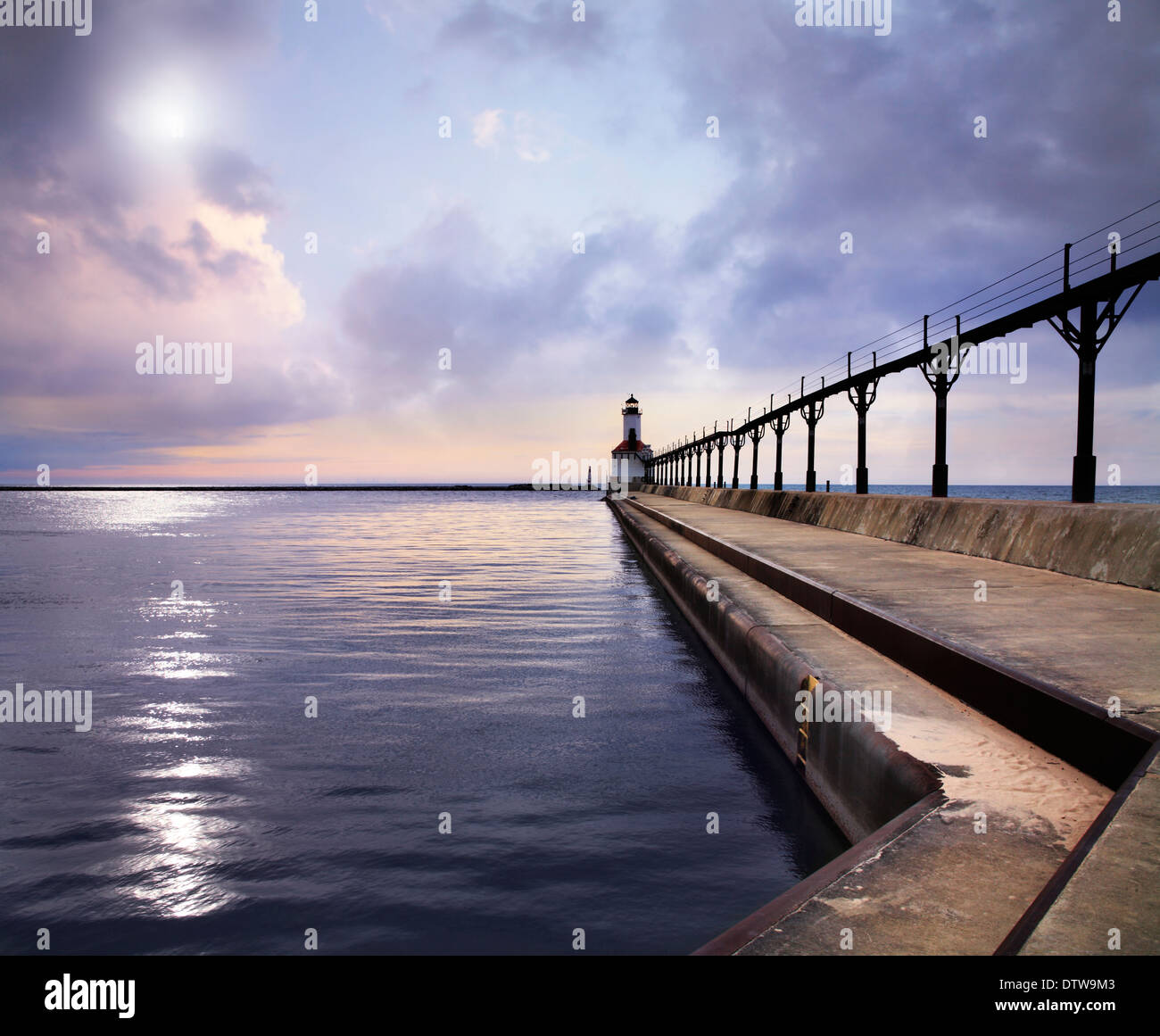 The Michigan City East Pierhead Lighthouse At Sunset On Lake Michigan, Michigan City, Indiana, USA - Stock Image