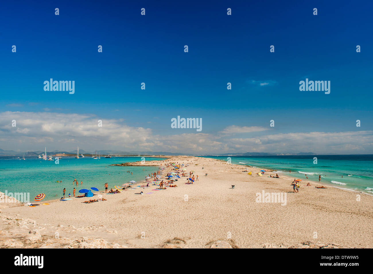 Formentera, Balearic Island. A panorama of magnific beach of Ses Illetes with the beautiful beach and the crystal clear sea - Stock Image