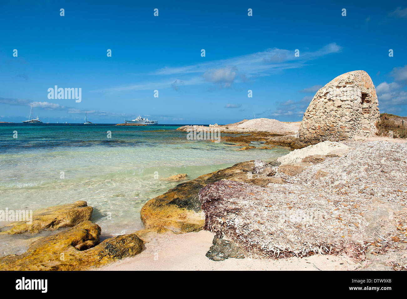 Formentera, Balearic Island. A corner caribbean beach of Ses Illetes with the beautiful beach and the crystal clear sea - Stock Image