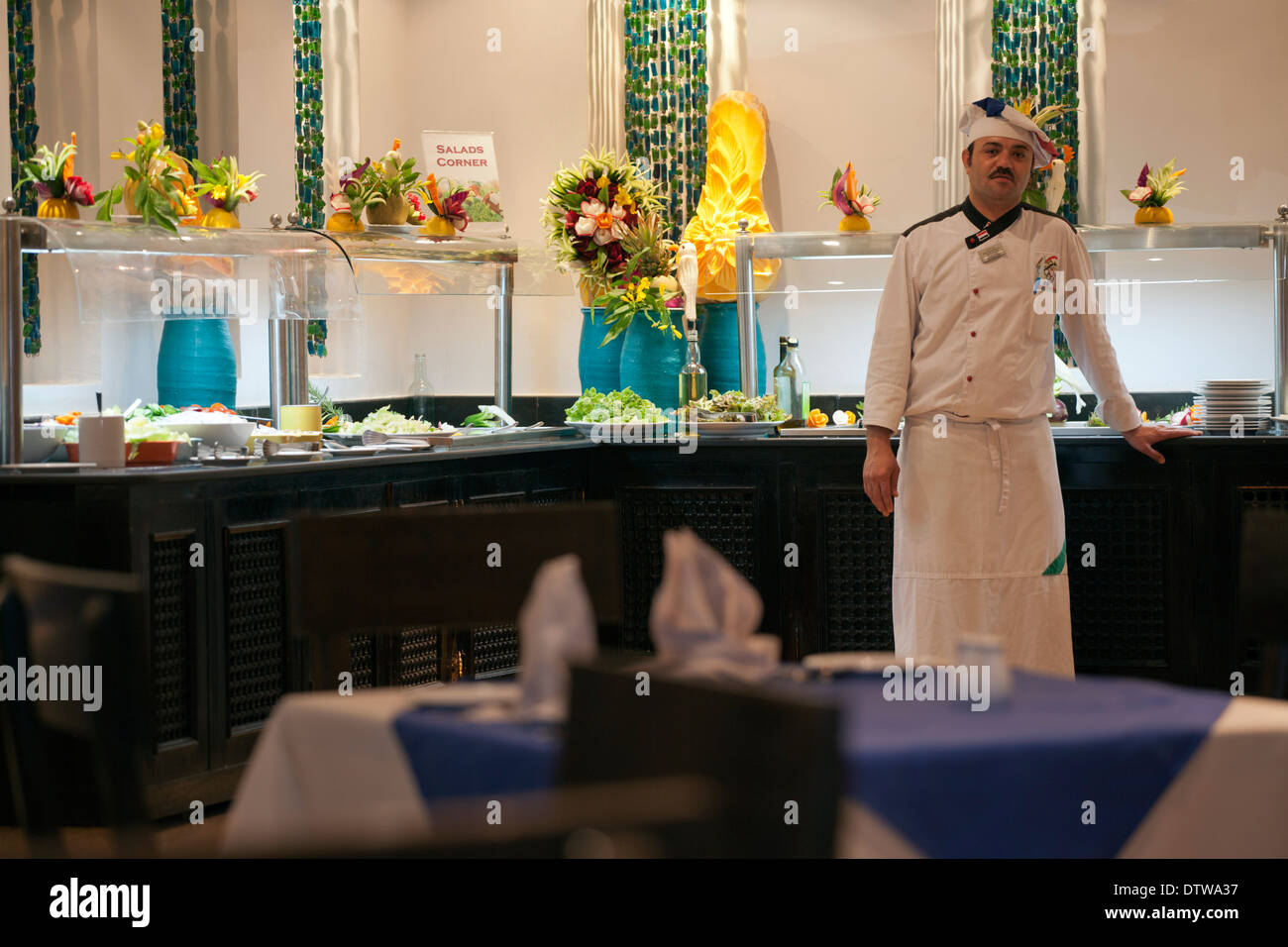 Chef & buffet in Egypt at Sharm Grand Hotel/Red Sea Holidays - Stock Image