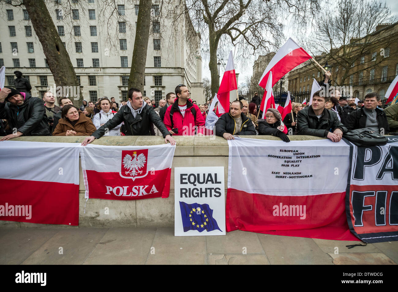 Demonstration against the discrimination of Polish people in London and UK - Stock Image