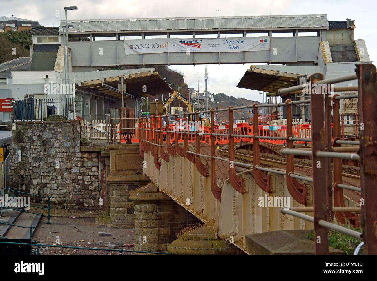 Dawlish Railway Repairs - Stock Image