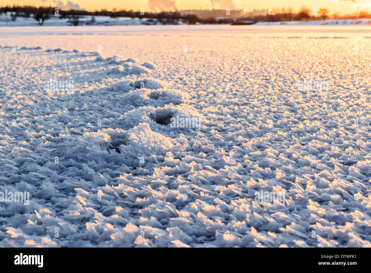 Large crystals of snow at sunset on the ice surface - Stock Image