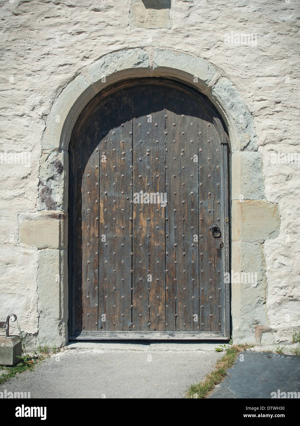 Entrance door of St Marcella's Church set in the Vale of Clwyd, North Wales, less than one mile from the town of Denbigh. - Stock Image