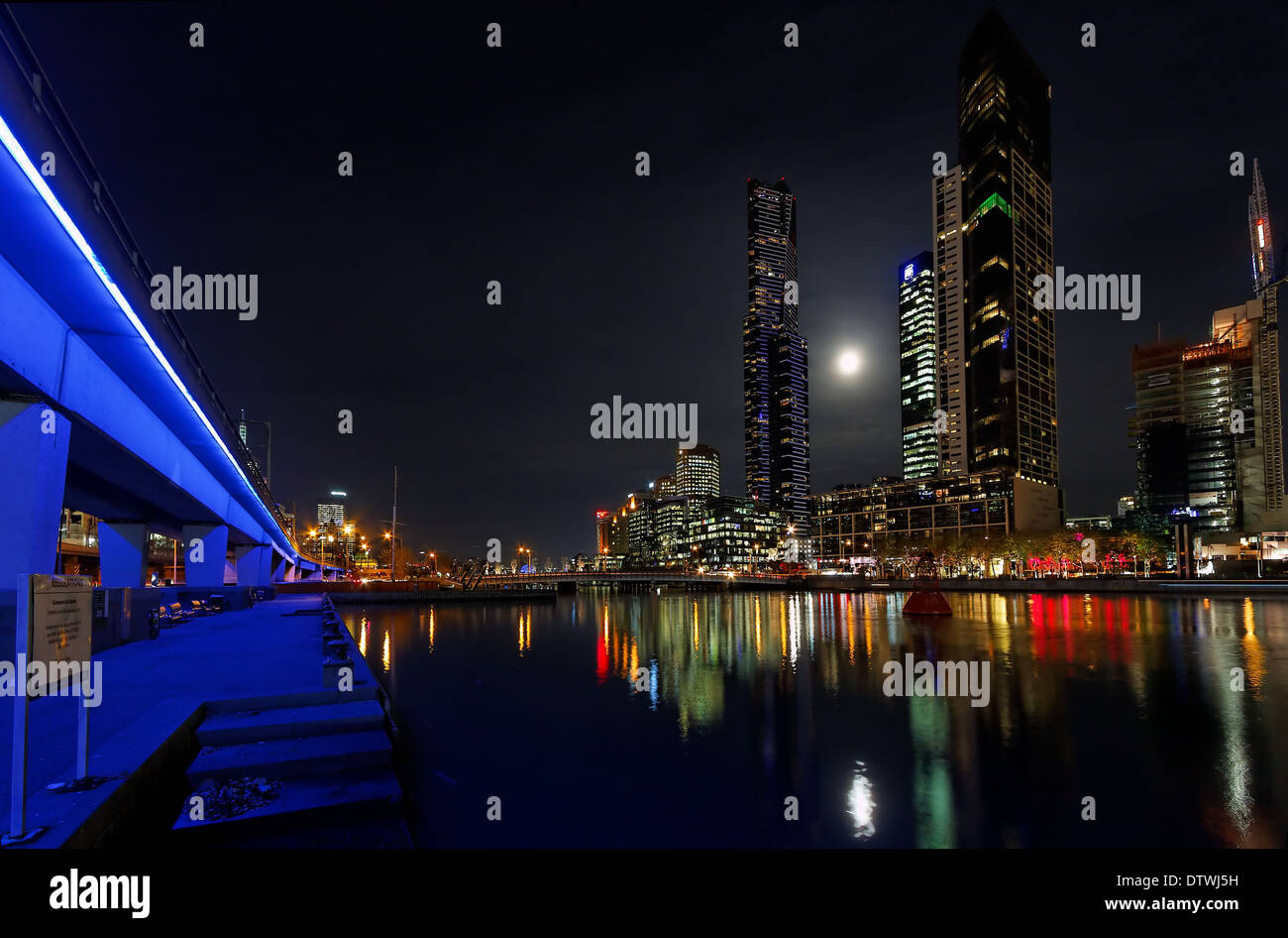 Melbourne at night - Stock Image