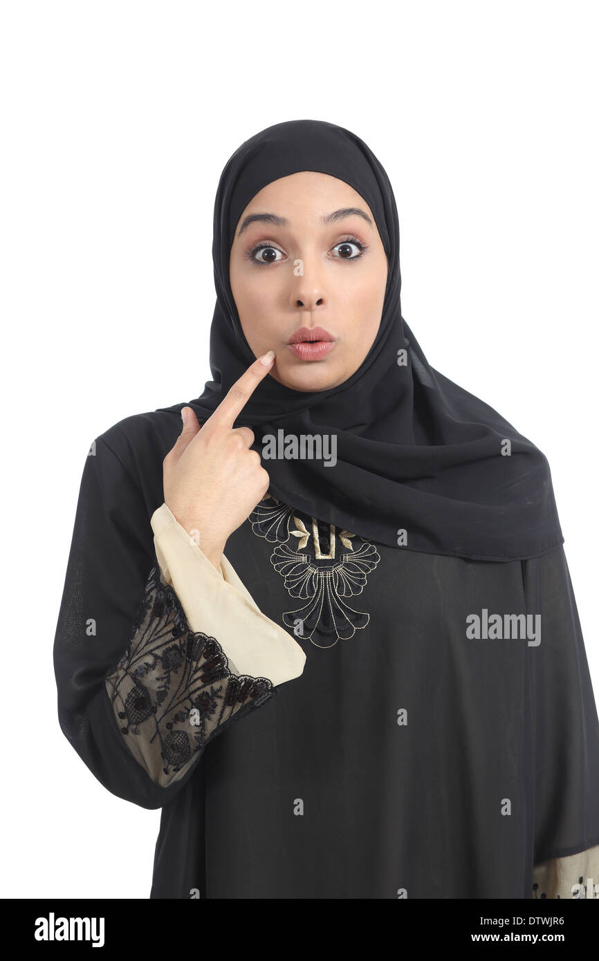 Arab saudi emirates woman gesturing oops isolated on a white background - Stock Image