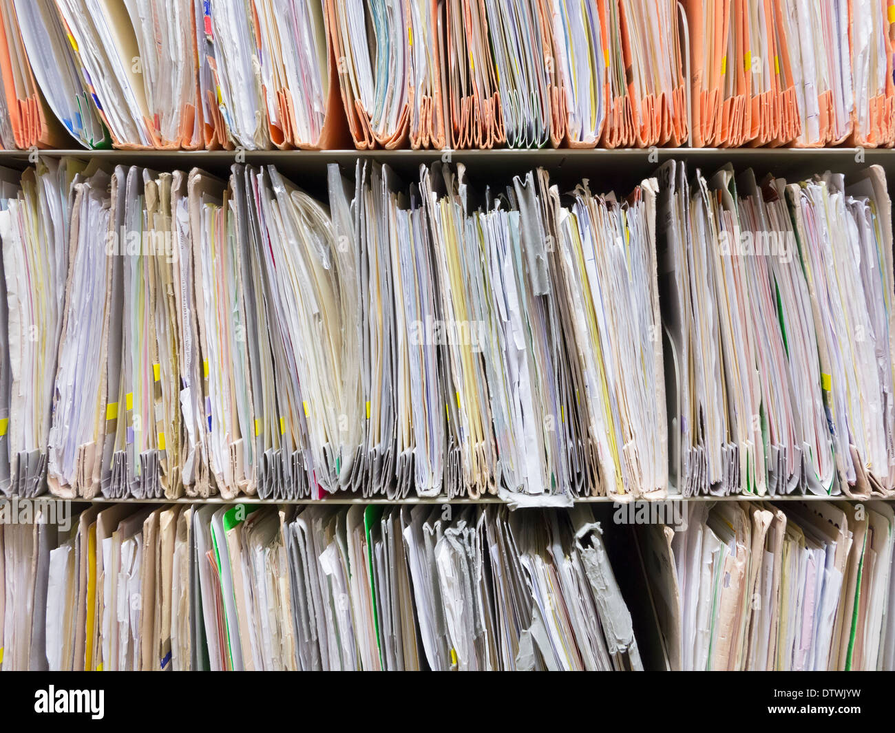 Paper files at a UK hospital - Stock Image