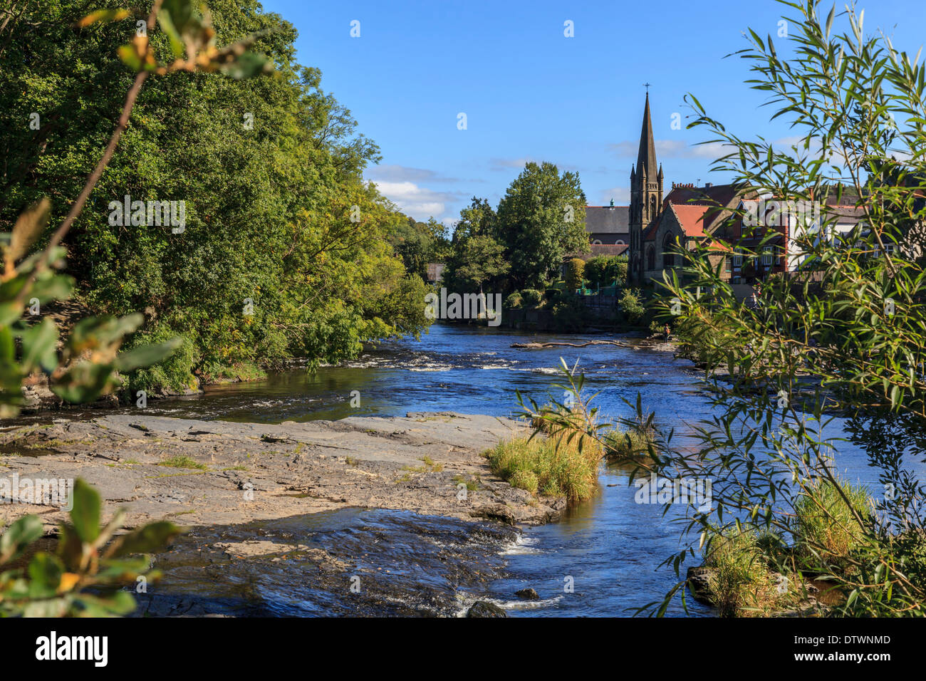 The River Dee as it flows through Llangollen. Stock Photo