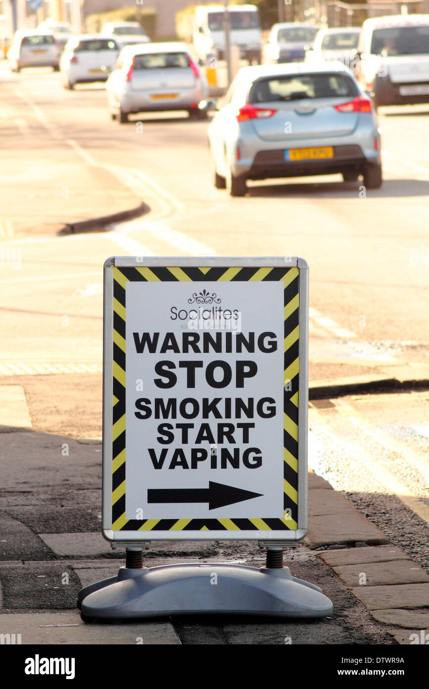 Signage outside a shop selling  e-cigarettes in Derbyshire, England, UK - Stock Image