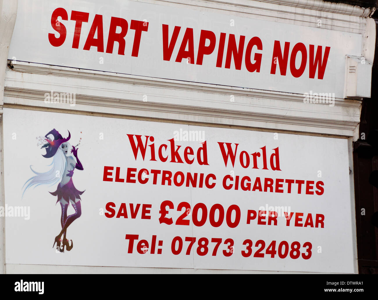 Signage on  a shop selling electronic cigarettes in Derbyshire, England, UK - Stock Image