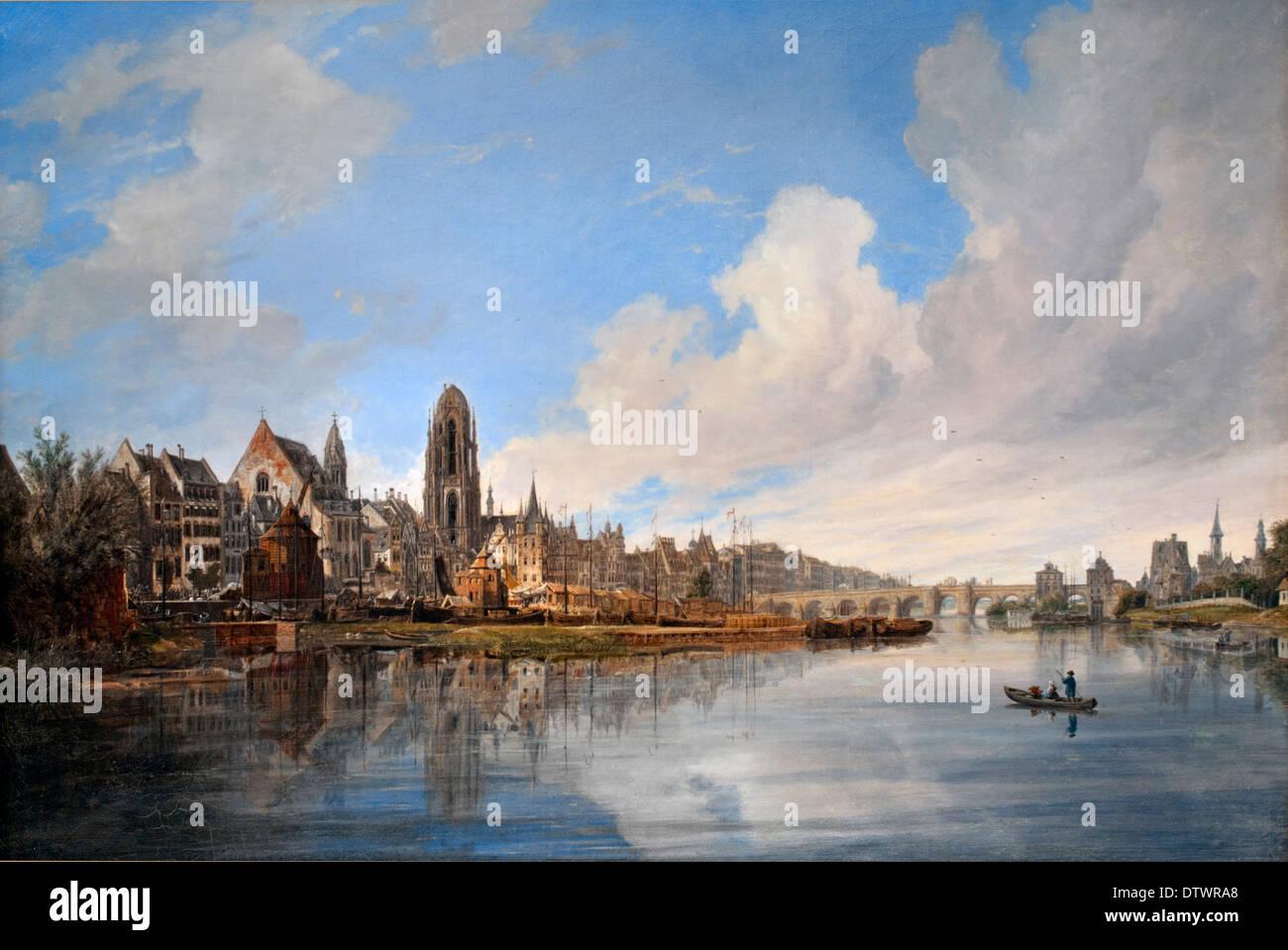 Quaglio Domenico 1787-1837 Ansicht der Stadt Frankfurt am Main von Westen. 1831 German Germany - Stock Image