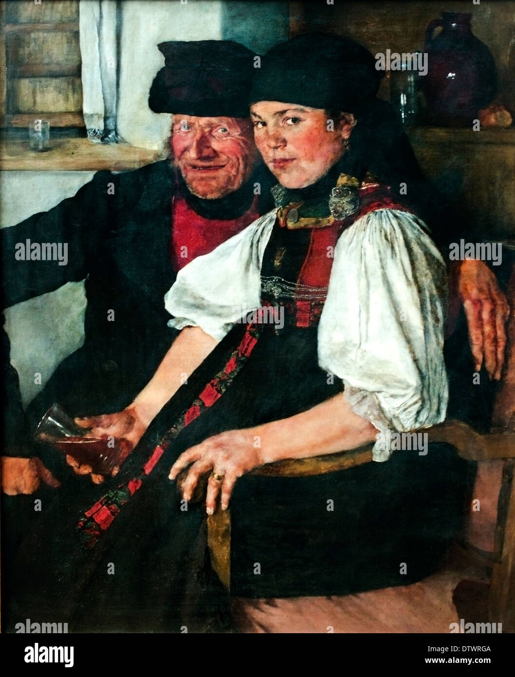 Elderly Farmer and Young Girl The ill Matched Couple 1876 Wilhelm Leibl 1844-1900 German Germany - Stock Image