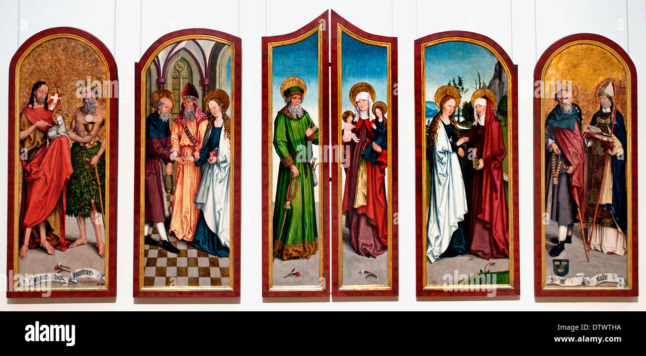 Saint John the Baptist  Onuphrius Marriage Virgin Joachim St. Anne Visitation John the Baptist Onuphrius Meister mit  Onuphrius - Stock Image