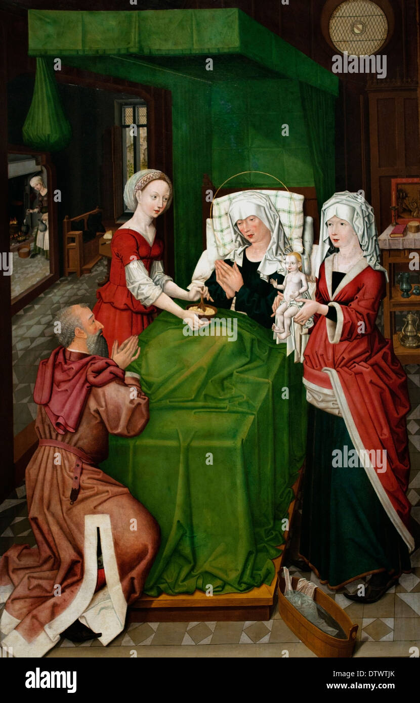 Birth of Mary 1489 Master of Lichtenthaler Marie wing German Germany - Stock Image