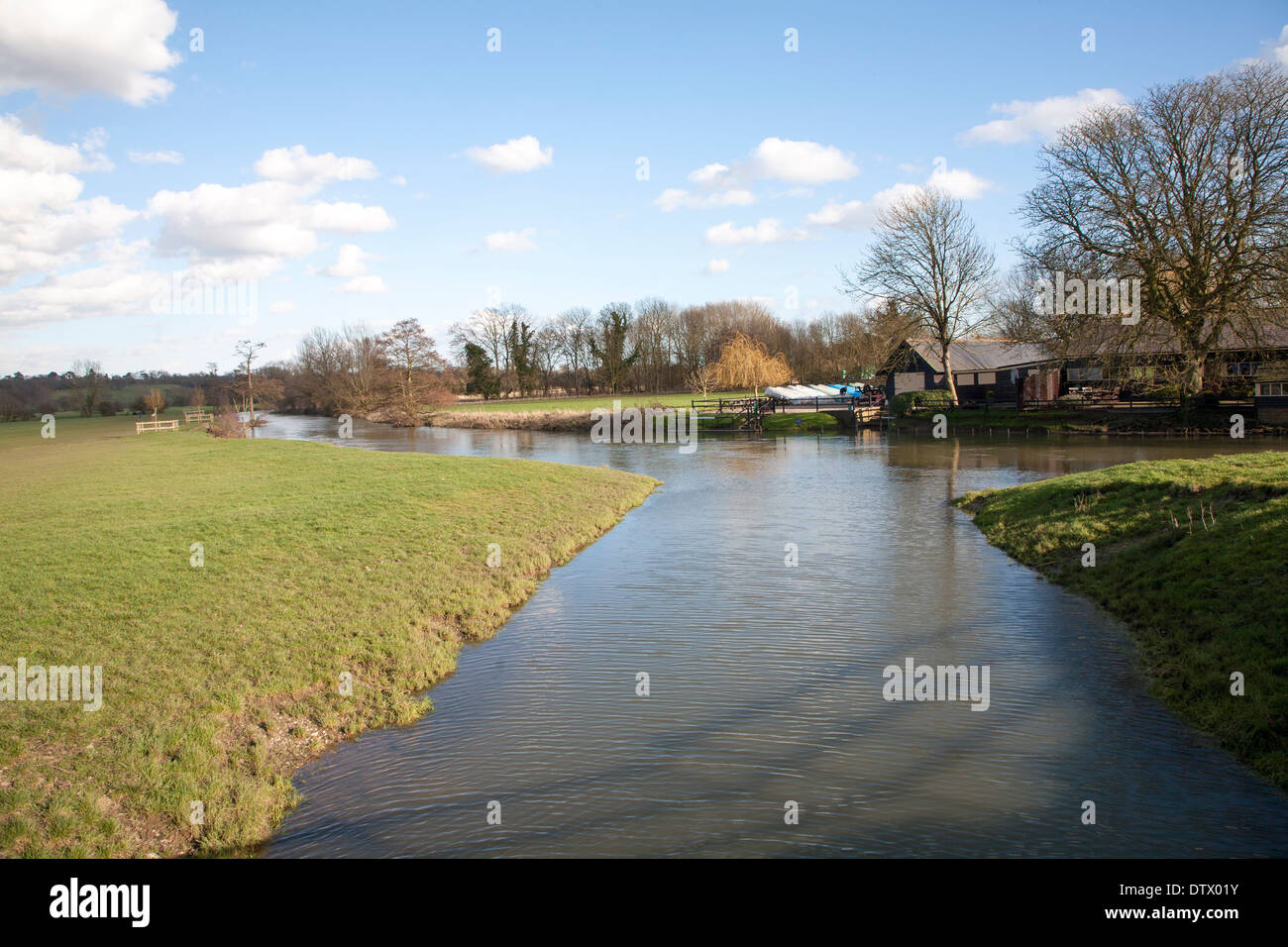 A tributary joining the River Stour at a confluence of waters at Dedham, Essex, England - Stock Image