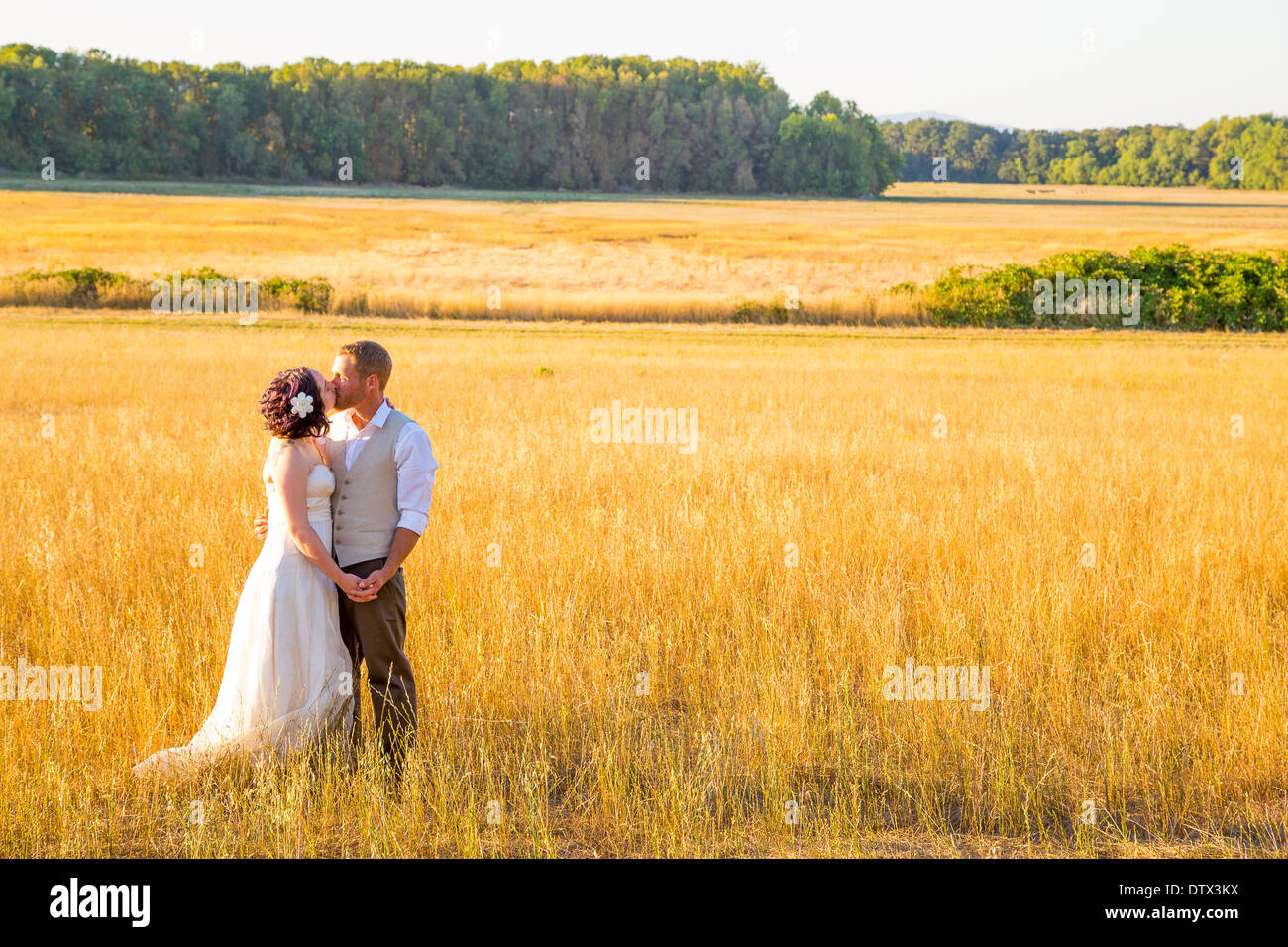 Wedding couple shares a romantic moment in a field or meadow at sunset on their wedding day. - Stock Image