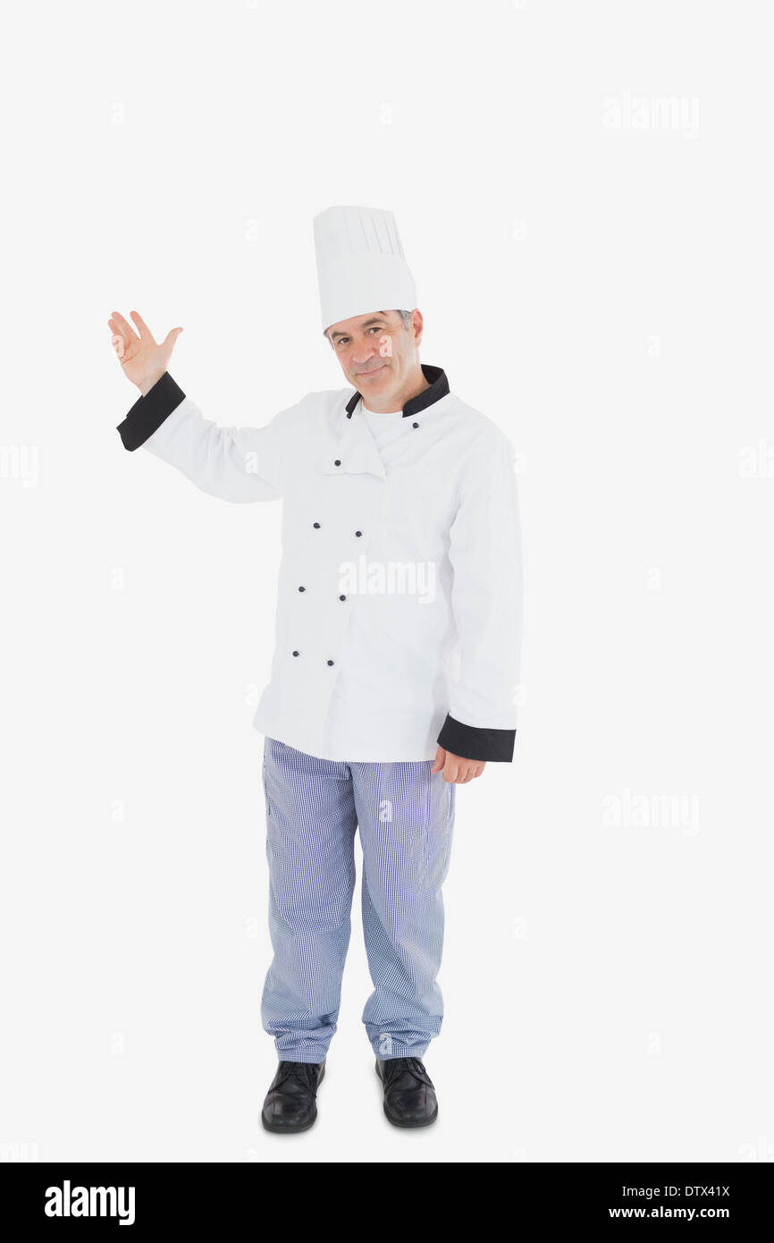 Mature chef displaying something on white - Stock Image