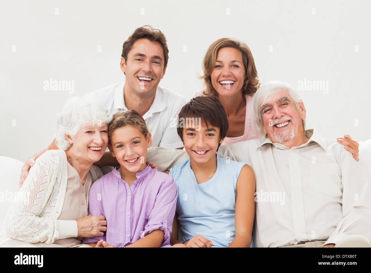 Extended family portrait - Stock Image