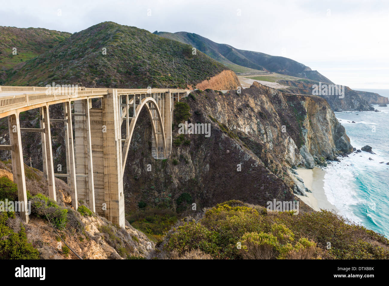 The Historic Bixby Bridge on the Pacific Coast Highway California Big Sur - Stock Image