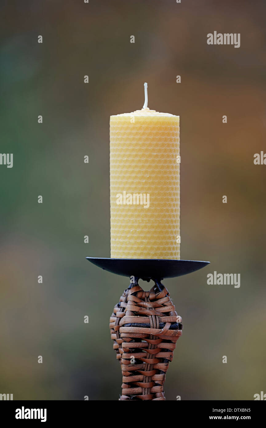 Beeswax candle - Stock Image