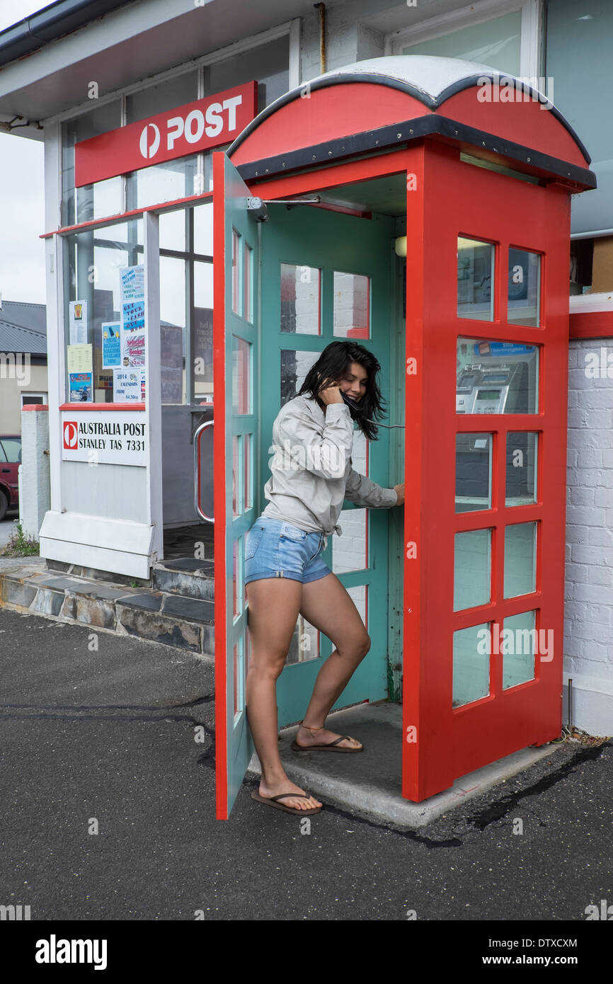 Old style red telephone booth, Stanley, Tasmania - Stock Image