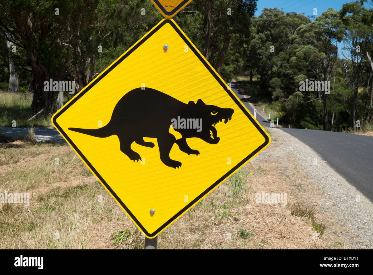 Tasmanian devil road signs near Marrawah, Arthur River, Tasmania - Stock Image