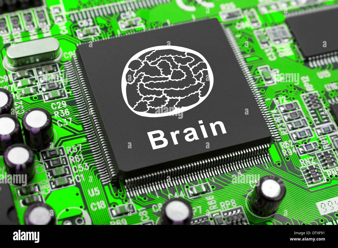 Brain Symbol On Computer Chip Stock Photo 66965613 Alamy Electronic Circuit Symbols