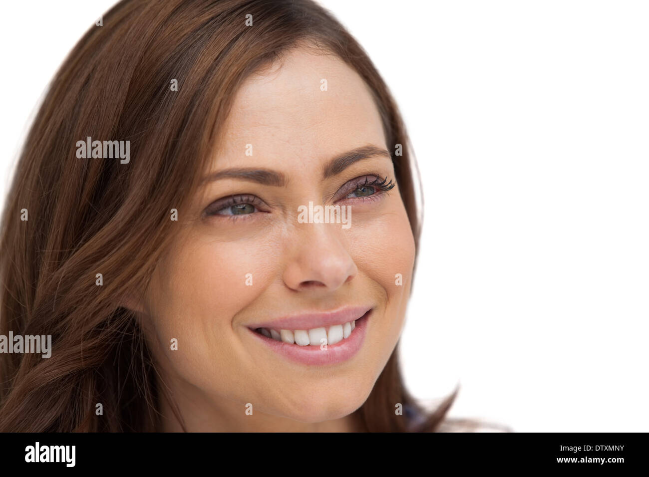 Attractive woman looking at something - Stock Image
