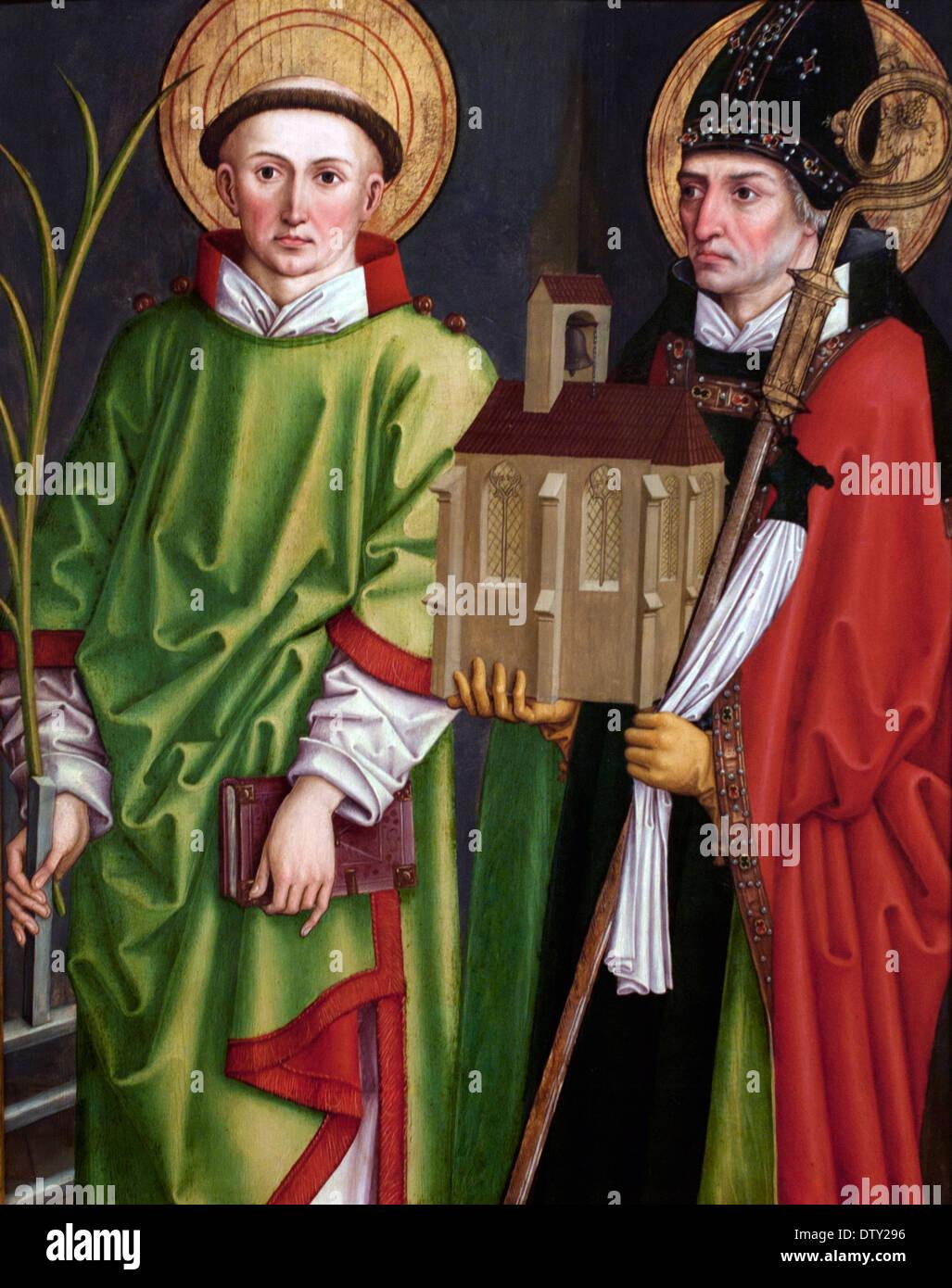 St. Lawrence and Wolfgang - Die Heiligen Laurentius und Wolfgang 1490 Bartholomäus - Bartholomew Zeitblom 1460 - 1522 German - Stock Image