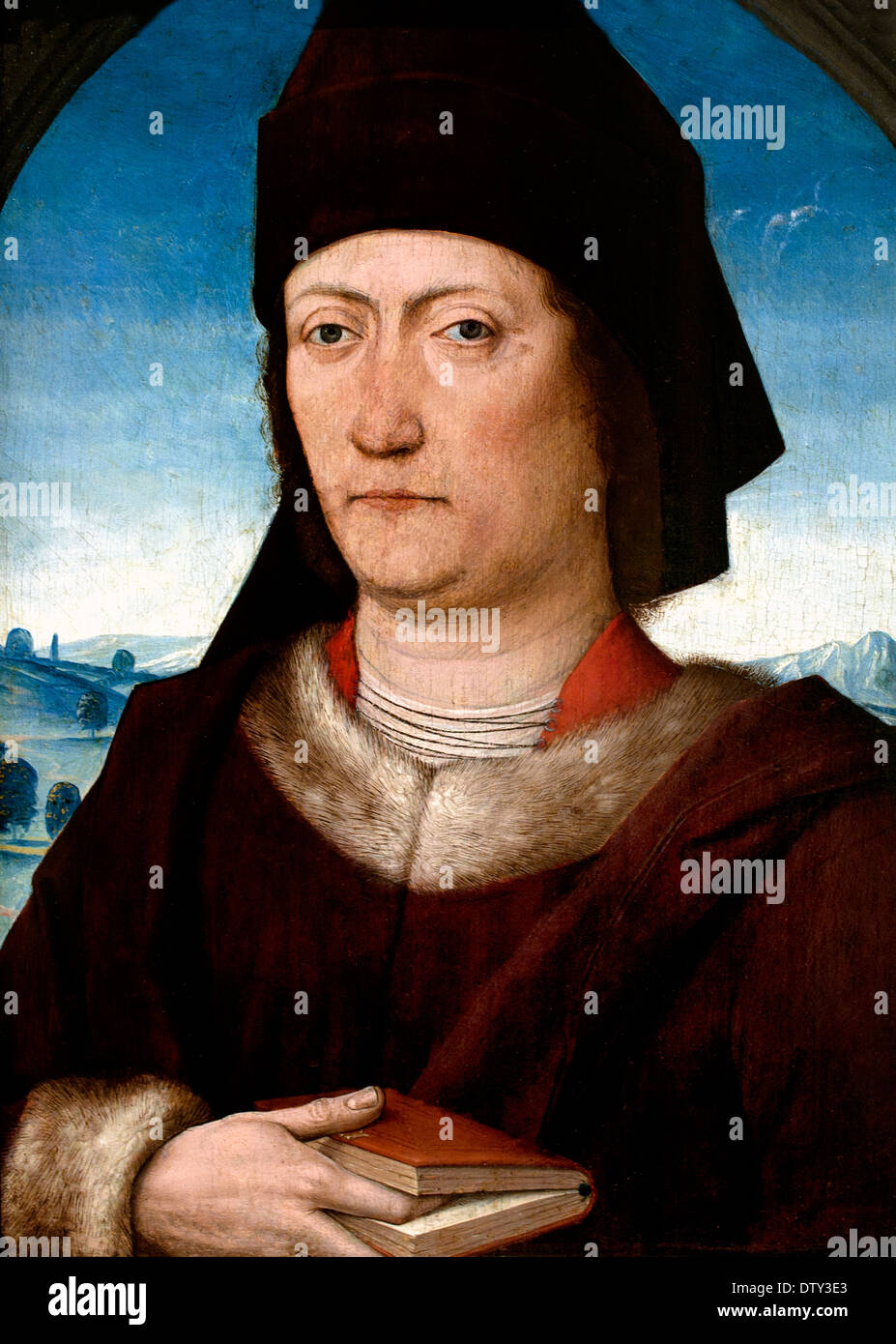 Portrait of a scholar - Bildnis eines Gelehrten 1480 Master of the Life of Mary - Meister des Marienlebens1460 Koln German Germ - Stock Image
