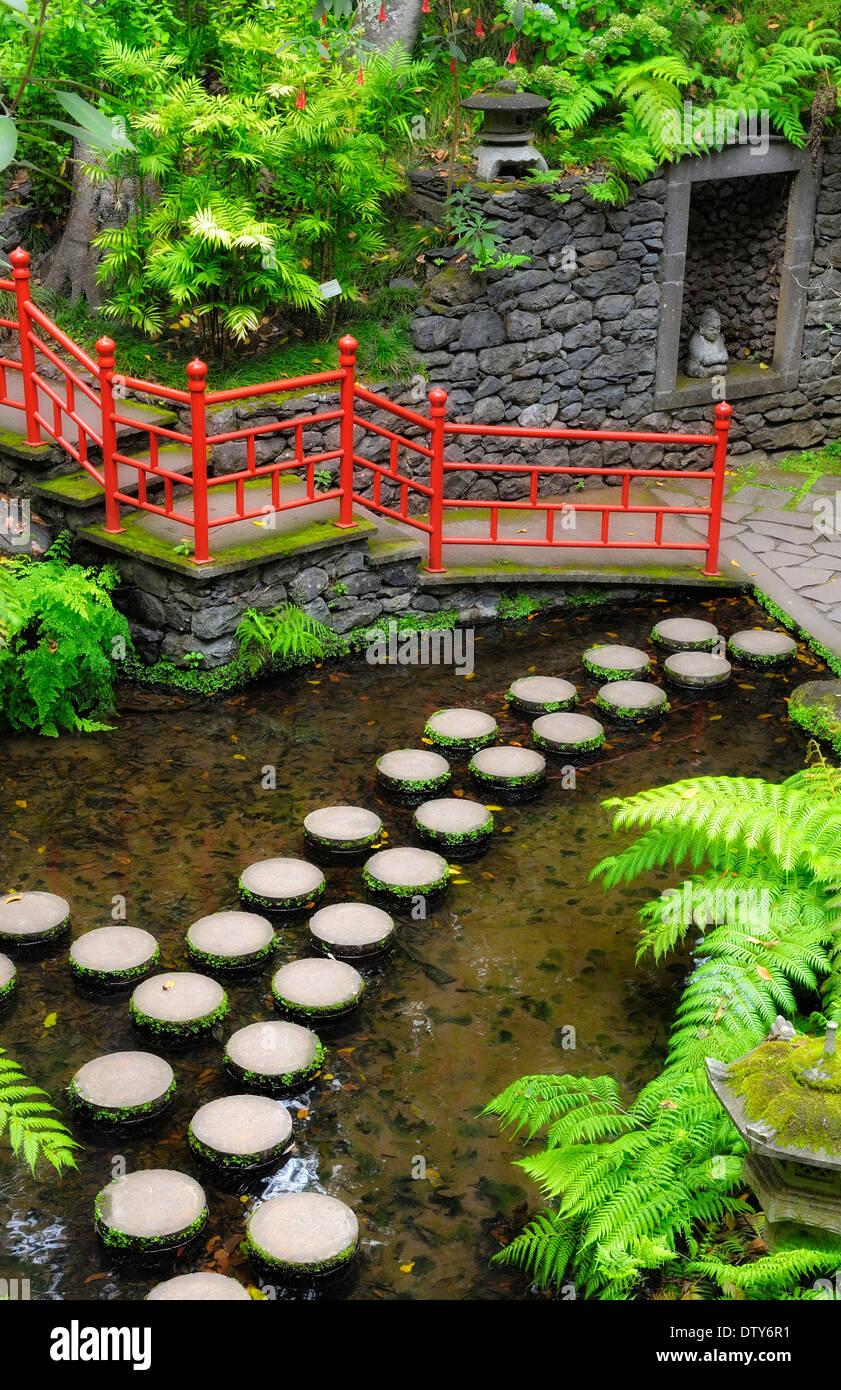 Garden Pond Water Stepping Stones Stock Photos & Garden Pond Water ...