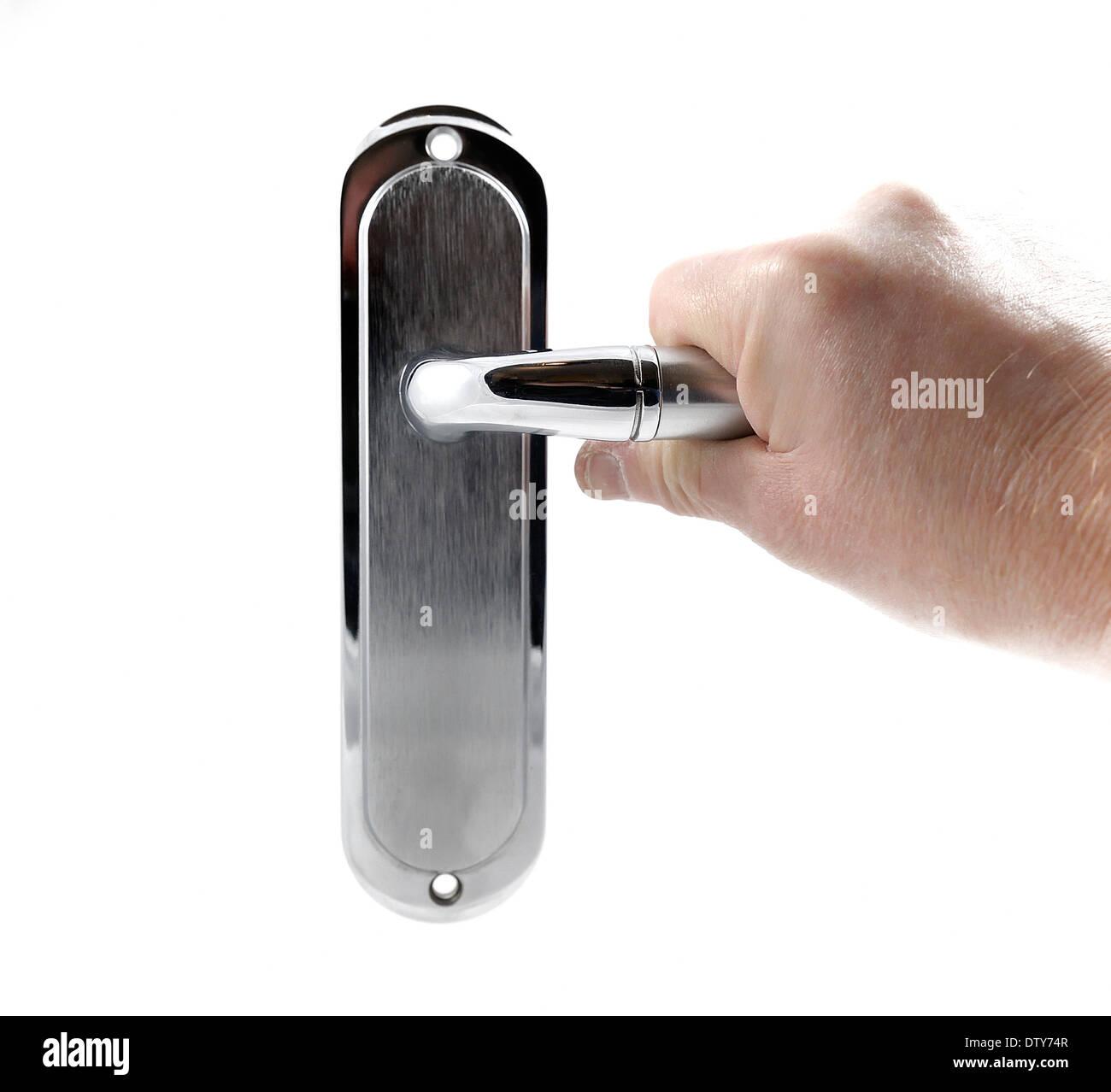 male hand opening door door handle on a white background - Stock Image