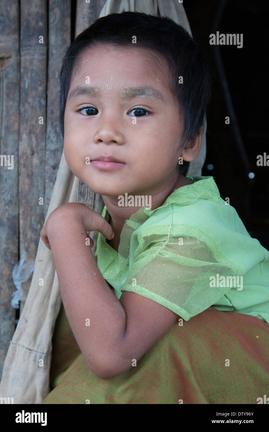 Portrait of a young boy. irrawaddyi division. myanmar (Burma). Stock Photo