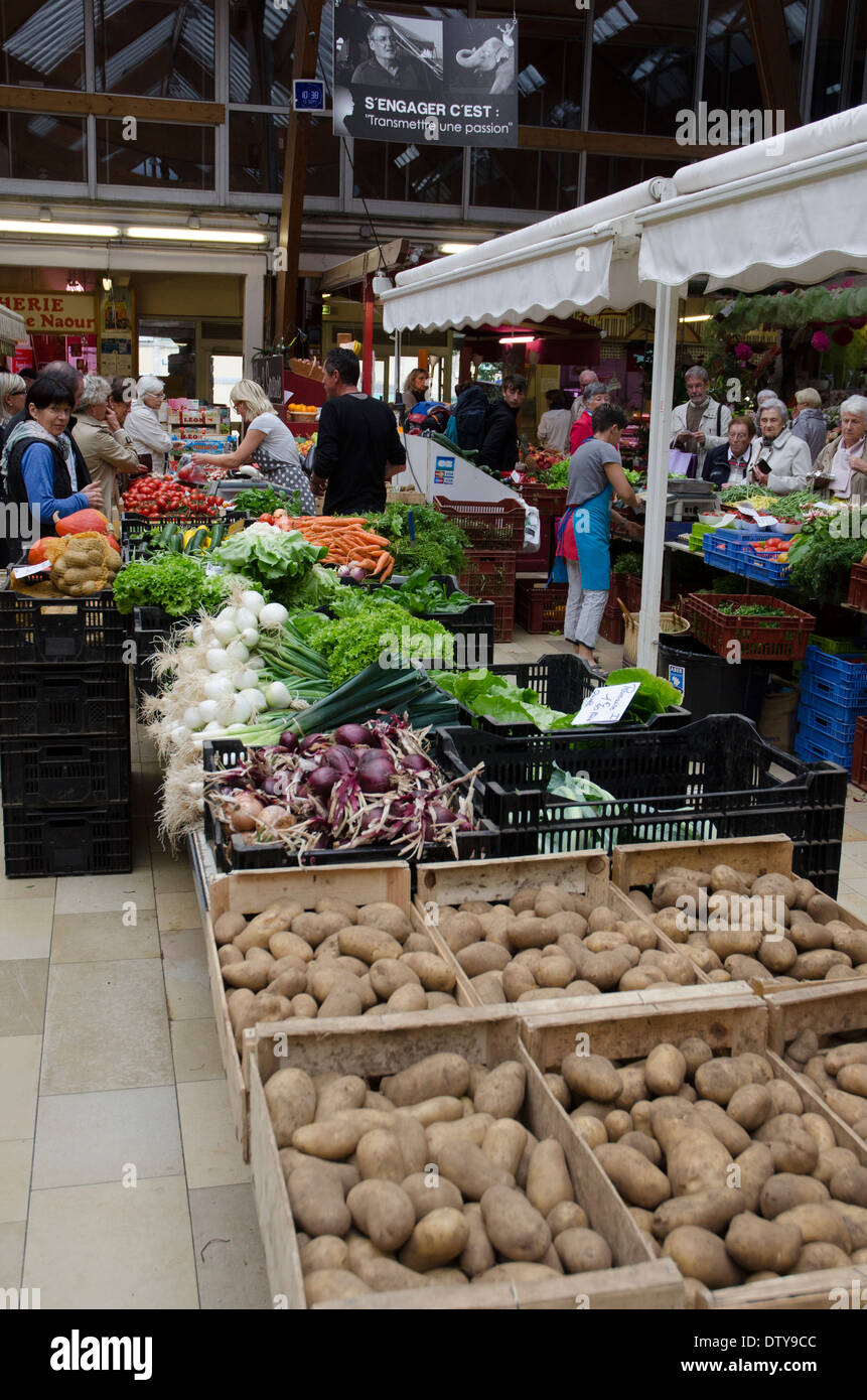 Vegetable market in Quimper, Brittany France Stock Photo