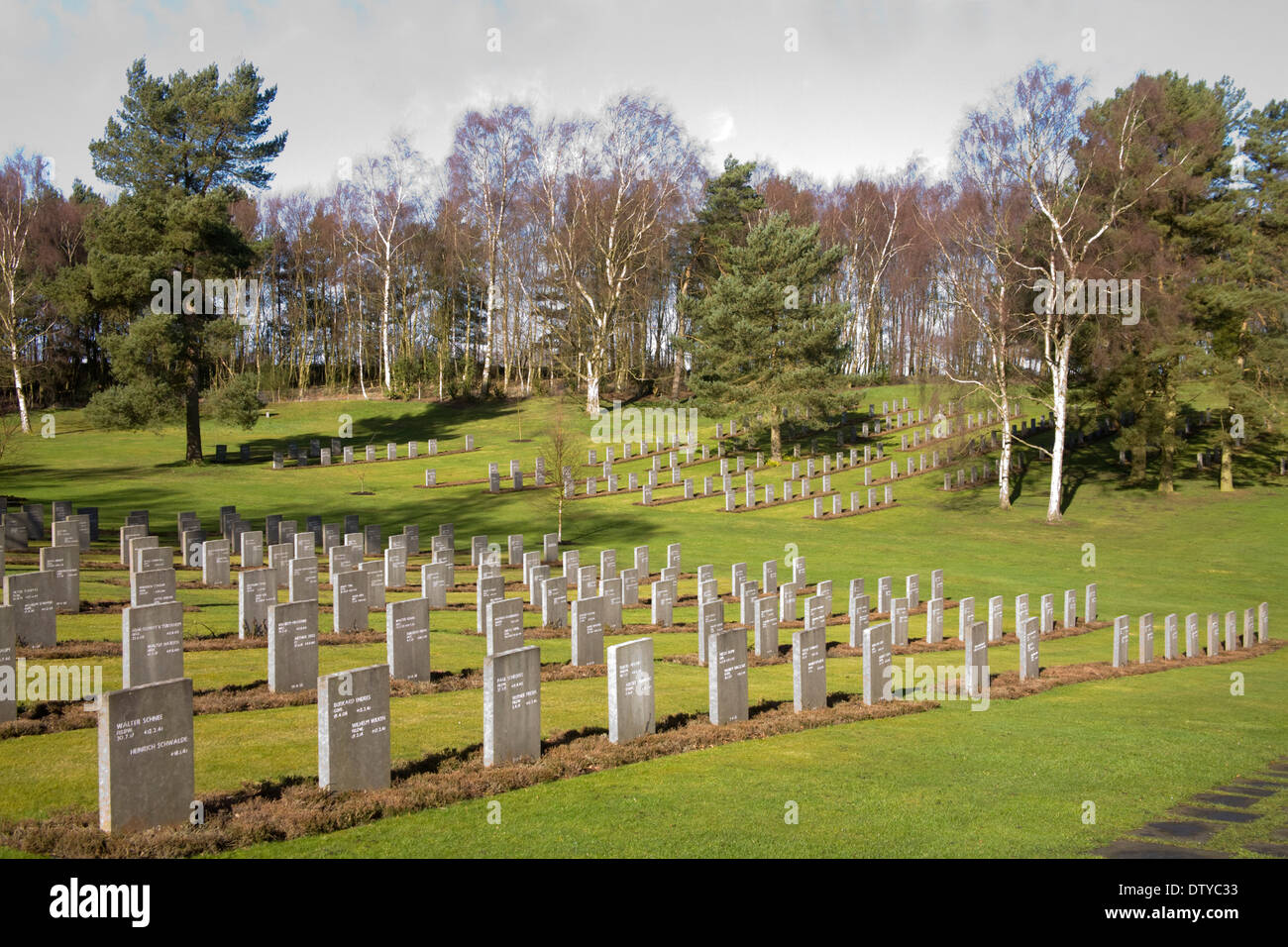 Cannock Chase Staffordshire England UK German war cemetery rows of headstones of Germans who died on British soil in World War 1 - Stock Image